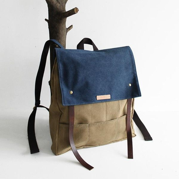 Backpacks – Handmade Waxed Canvas School Backpack Laptop  – a unique product by Jellybeangorilla on DaWanda
