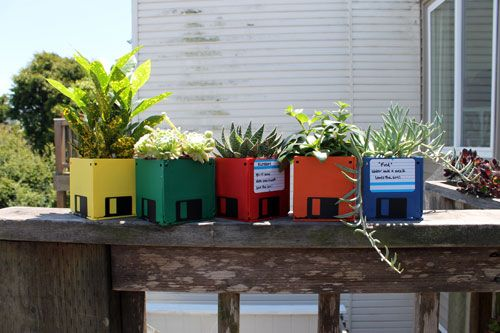 DIY glued Floppy Disk Planters. (& you can label them easily) geek gardening