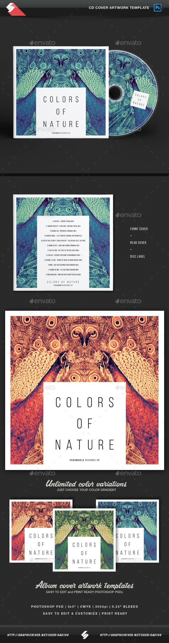 Colors Of Nature - Creative CD Cover Artwork Template  — PSD Template • Only…