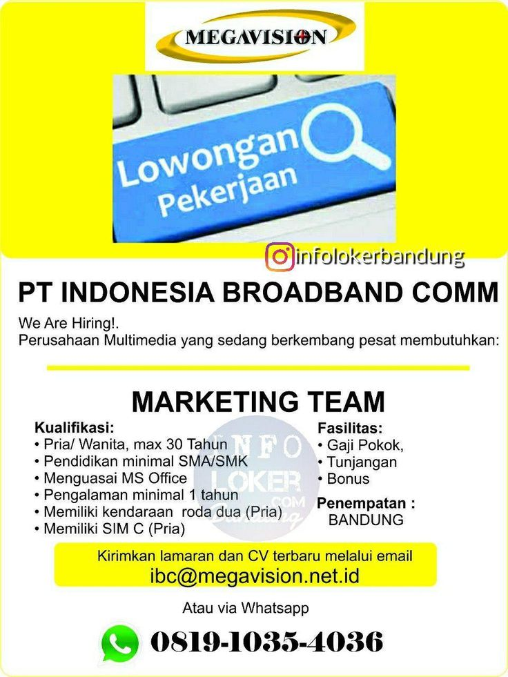 Lowongan Kerja PT. Indonesia Broadband Communications ...
