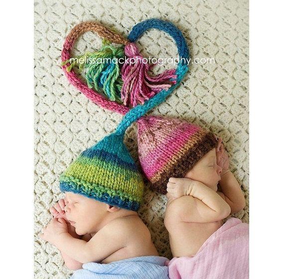 Twin Set Baby Elf Hat, Knit Newborn Elf Hat, Preemie - 12 Months, Baby Photography Prop, Newborn Photo Prop