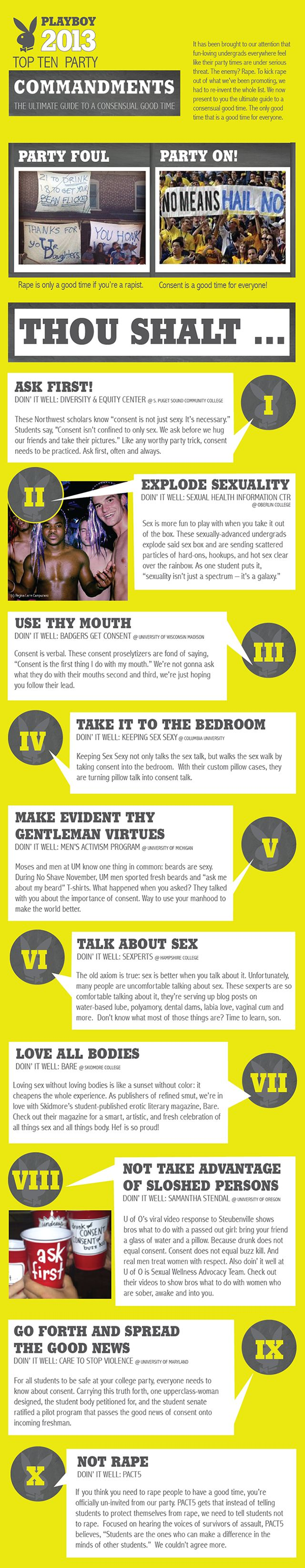 Hackers recently decided to take Playboy's annual party guide aimed towards college students and make it a little more consent-friendly. The result? An awesomely redesigned list of The Top 10 Party Commandments: The Ultimate Guide For A Consensual Good Time.  The list may be fake, but it's a great reminder that consent means a good time for everyone. Read more about it here: http://huff.to/16nnzn0