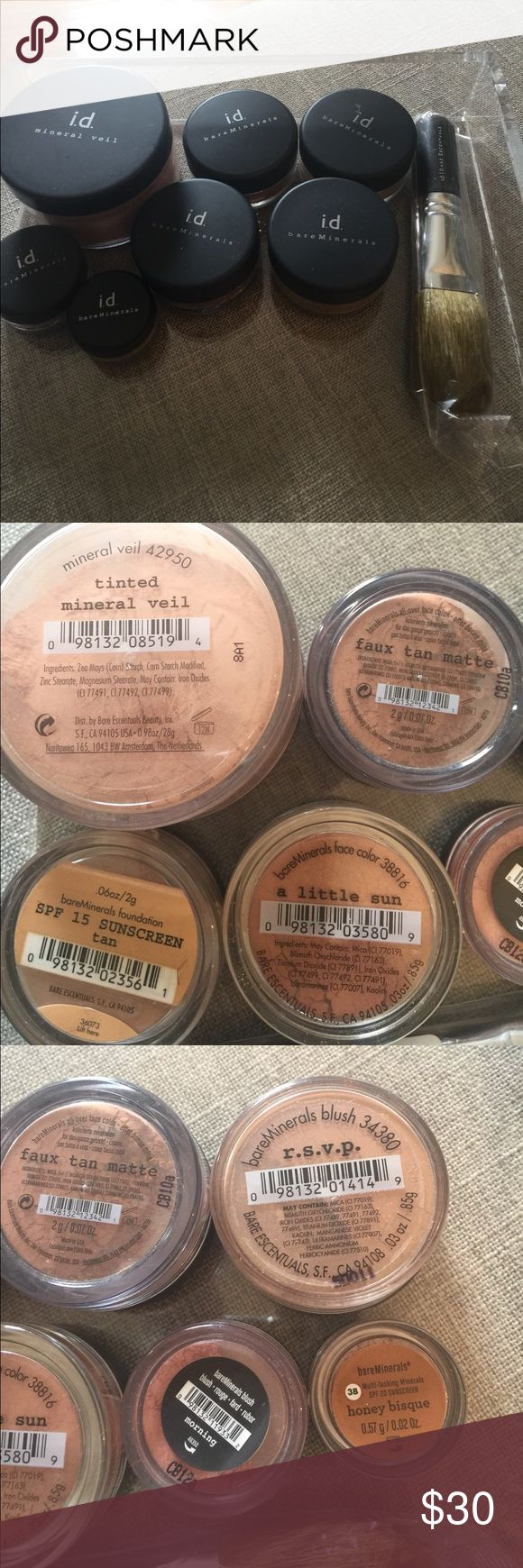 I.d. Bare Mineral Set  ( some maybe just tried )  like new i.d.  bare minerals  Makeup Face Powder