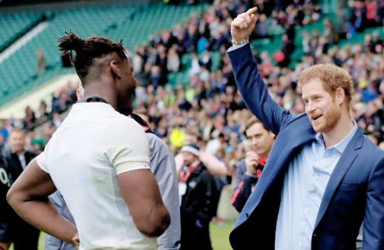 Prince Harry arrived at Twickenham Stadium in London to join 12,000 fans at an open training session where young people from RFU programmes can watch the England team prepare for their next RBS 6 Nations match | February 17, 2017