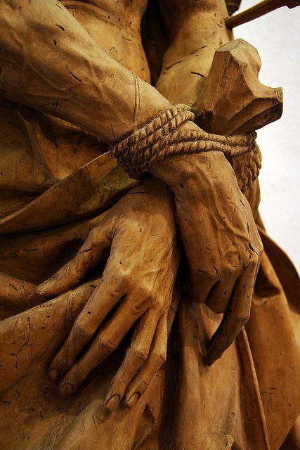 St. Sebastian carved wood hands detail