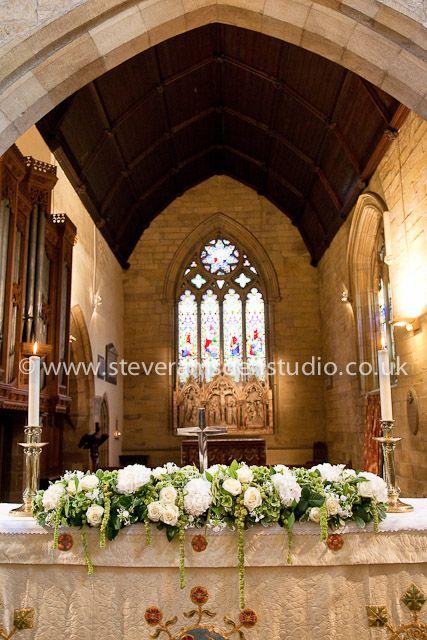 Altar wedding flowers at St Marys Church Masham by Susie Hart