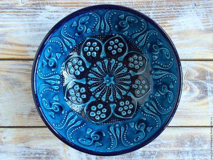 Керамическая пиала (керамическая тарелка голубая)