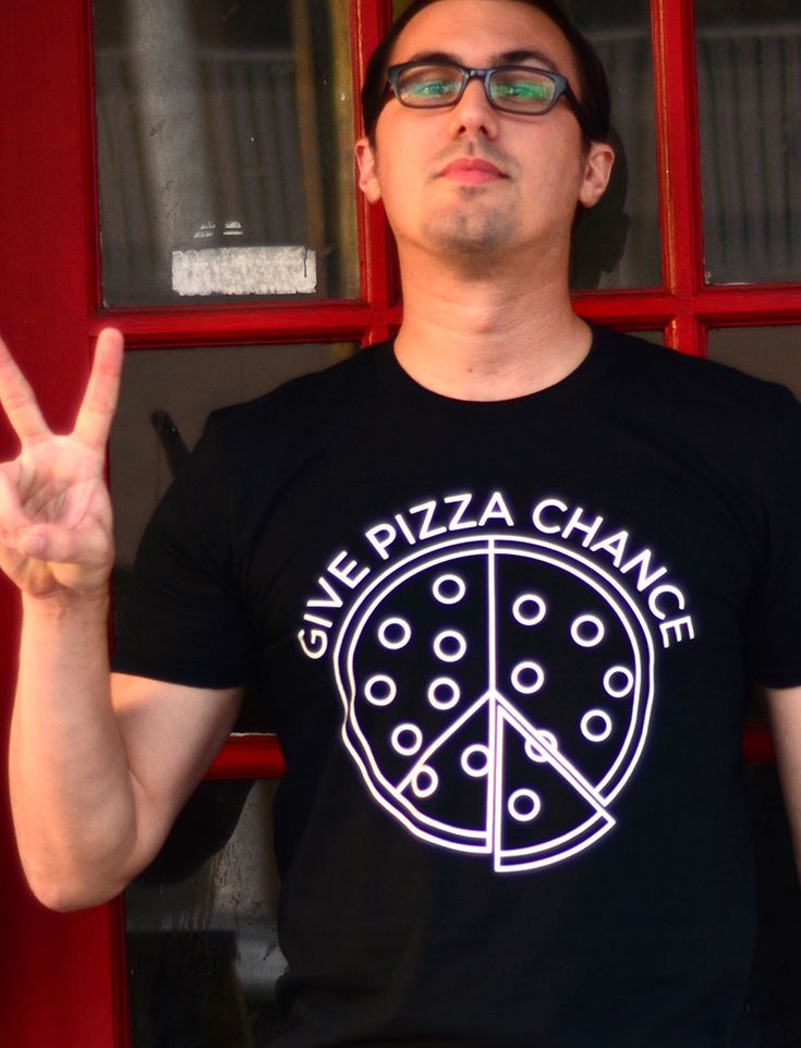 """Give Pizza Chance"" black t-shirt."