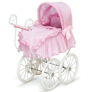 $189 Hauck -Toddler Girls Baby Doll Canopy Stroller Bed Victorian Pram Buggy Furniture Pretend Play for Babydoll - American Girl + More!