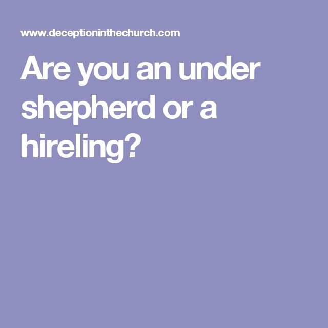 Are you an under shepherd or a hireling?