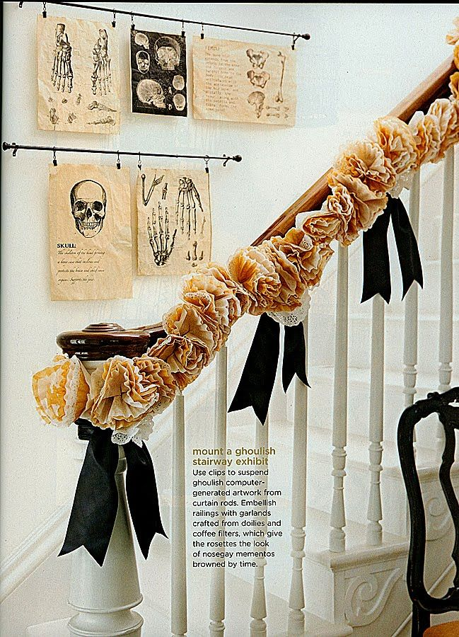 Grown up halloween decoration: Decor Ideas, Halloween Decor, Wall Hanging, Doilies, Curtains Rods, Hallows Eve, Halloween Garlands, Coffee Filters, Coff Filters