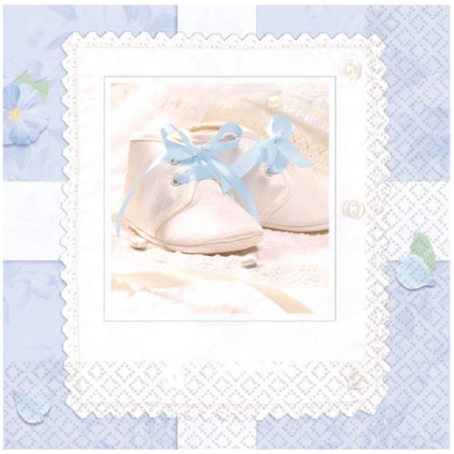 Pack of 16 napkins suitable for a Christening. Also available in pink.