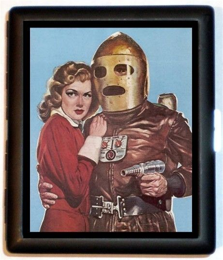 Retro Humor Robot Android Man with Sexy Pinup Woman