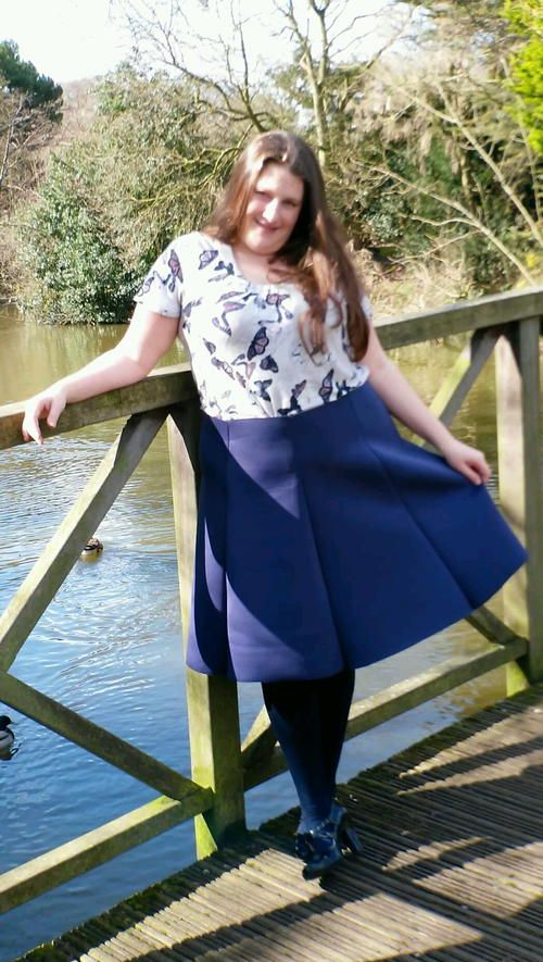 """Create the perfect addition to your wardrobe with the Flared Neoprene <a href=""""http://www.allfreesewing.com/tag/Free-Skirt-Patterns"""" target=""""_blank"""">DIY Skirt</a> tutorial. You can draft the pattern with your own measurements so you know it'll fit you correctly. This sewing pattern will flatter most figures when you customize the size. It'll be so much cheaper to make a skirt that will fit you right than buy something off the racks at the store. With just a yar..."""