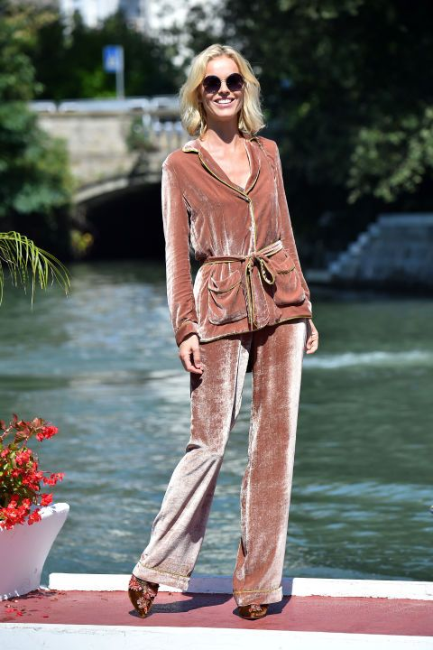 Who: Eva Herzigova What: A Velvet Suit Why: Nothing melds louche and luxe quite like a velvet suit, as evidenced by the stunning model in Alberta Ferretti. Get the look now: Alberta Ferrettisuit, price upon request, albertaferretti.com.