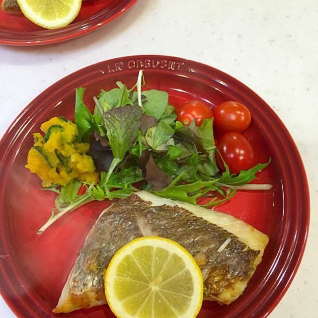 貰い物鯛の切り身の塩焼き    かぼちゃサラダ添え - 30件のもぐもぐ - 鯛の塩焼き by kiyomisoramama