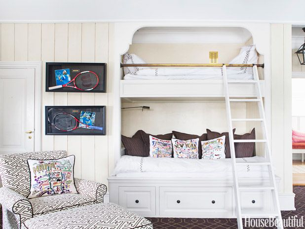 In designer Nicolette Horn's island-inspired Oslo, Norway, house, built-in bunk beds in son Frederik's room save space.