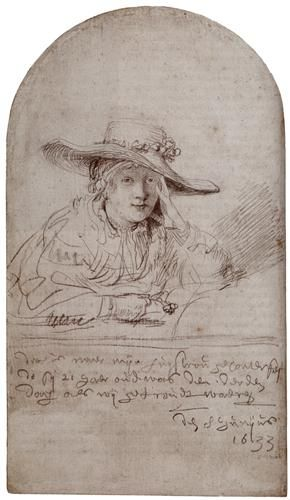 Saskia In A Straw Hat - Rembrandt. Silverpoint.1633