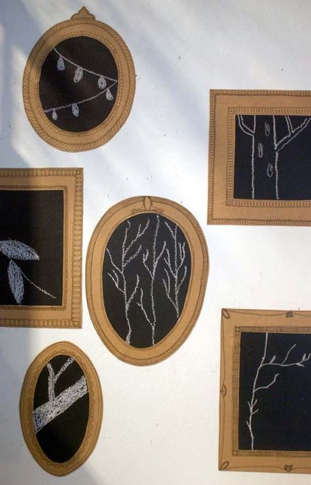 kraft paper and chalkboard paper frames - how fun!