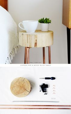 DIY Copper Pipe and Wood Slice Side Table