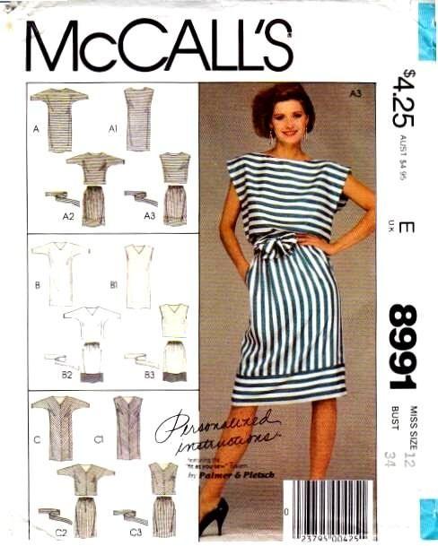 Mcalls 8991 vintage sewing pattern Blouson Dress Bat wing top skirt 80s