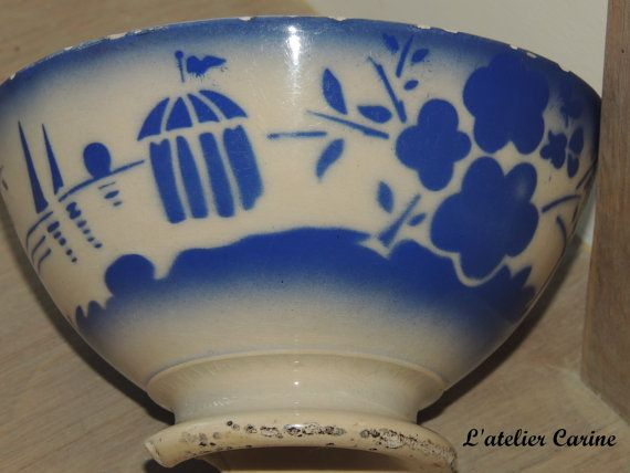 Bol ancien Gien  old bowlfrench bowl par lateliercarine sur Etsy