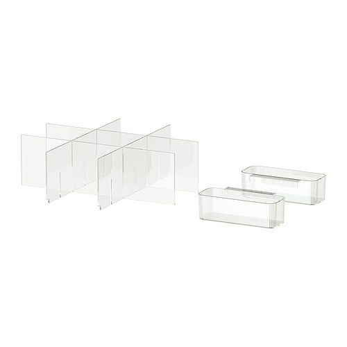 Ikea Godmorgon Drawer Organizer ~ GODMORGON Storage with compartments, clear $9 99 Article Number 101