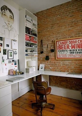 129 best images about room by room study on pinterest for Brick wallpaper office