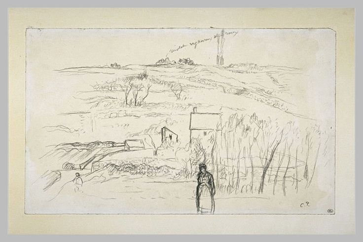 Paysage de collines avec une paysanne au premier plan