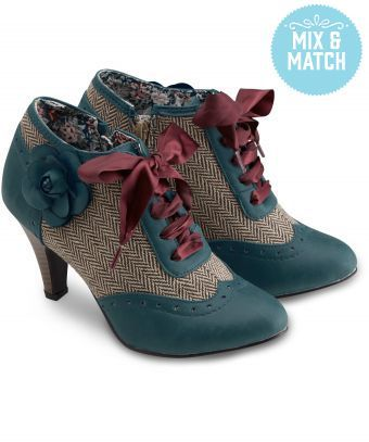Full of English countryside charm, these sweet bootees with a side zip feature tweed panels and a pretty corsage for a real shoe statement. Heel height: 8.5cm   Bags and Shoes Mix and Match Offer  Buy a bag and a pair of shoes, save £5  Click Here To See The Full Offer