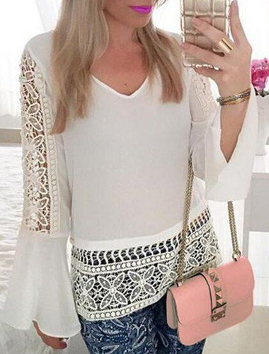 Stylish Women's V-Neck Bell Sleeve Hollow Out Lace Blouse