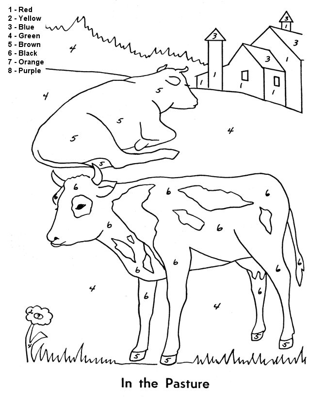 color by number coloring page free printable easy beginner cows in the pasture coloring pages featuring farm animals