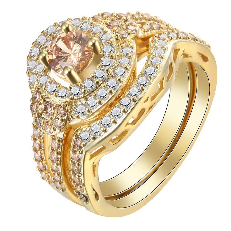 Placcato oro set di anello di fidanzamento per fidanzata donne alla moda creato topazio cz di zircon principessa vendita Calda ANELLI Set gioielli da sposa