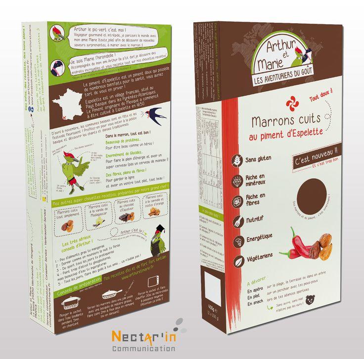 Packaging GMS, pour Arthur et Marie. Création de la marque, logo, charte graphique, packaging, textes, dessins, mise en page.