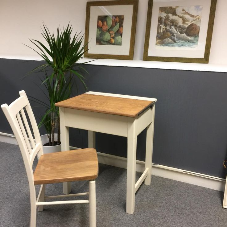 Old School !!, very rare Old School children's desk and matching chair, painted in White Tie by Farrow & Ball, only one as ever,grab it before it's gone at: UK Pickers, Unit 2, Windsor House, Brunswick Industrial Estate, NE13 7BA #School #children #desk #Schooldesk #childrendesk #newcastle #paintedfurniture #furniture #furnituremakeover #furniturepainting