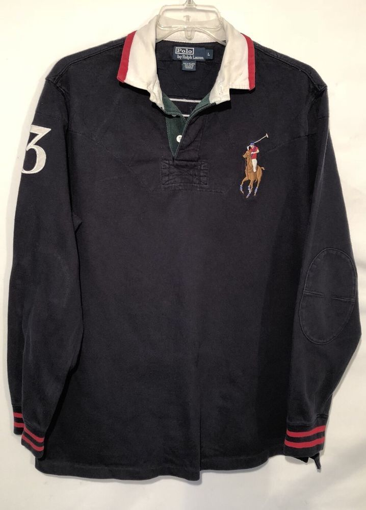b7143eb290d2 Polo Ralph Lauren Men s Rugby Shirt L Large Big Pony  3 Long Sleeve Navy  EUC  PoloRalphLauren  PoloRugby