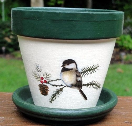 Chickadee Flower Pot and Seeds Gift Set