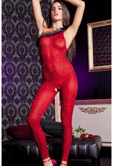 Asymmetric Neckline One-shoulder Red Leopard Body Stockings