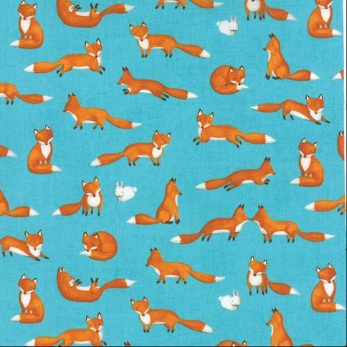 Moda Fabric - Forest Friends - Foxes - Cloud Light Blue