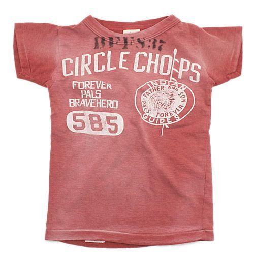 DENIM DUNGAREE(デニム&ダンガリー):ビンテージテンジク CIRCLE CHOPS Tシャツ 5R赤 の通販【ブランド子供服のミリバール】