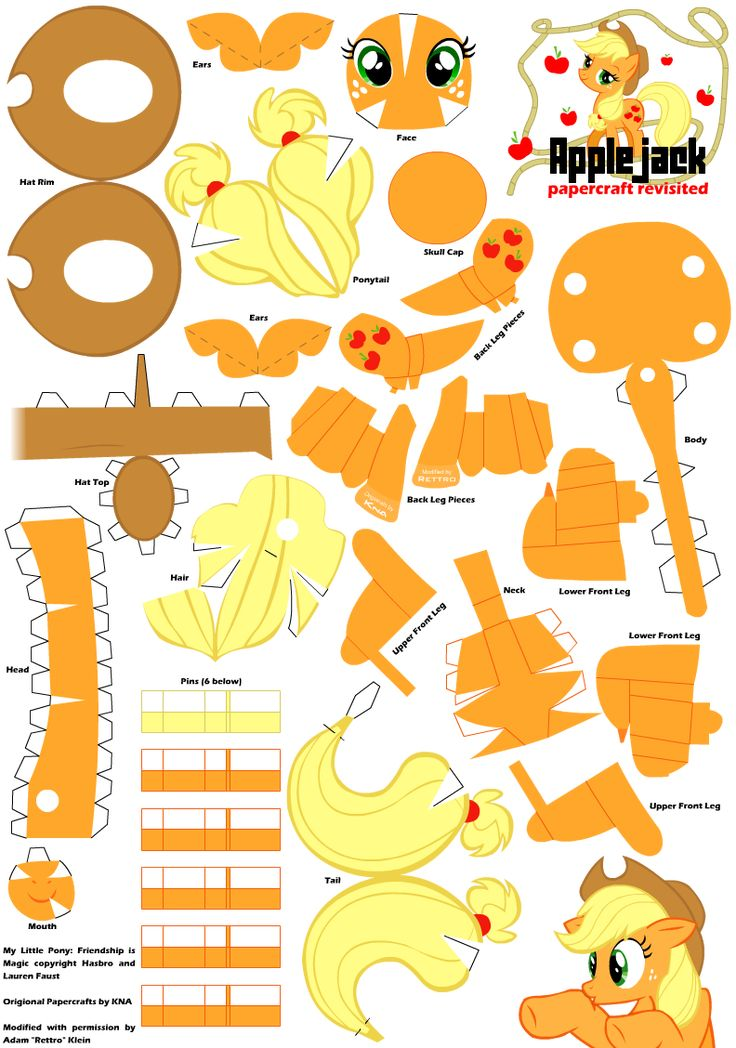 Applejack 2 Papercraft Pattern by ~Rettro on deviantART