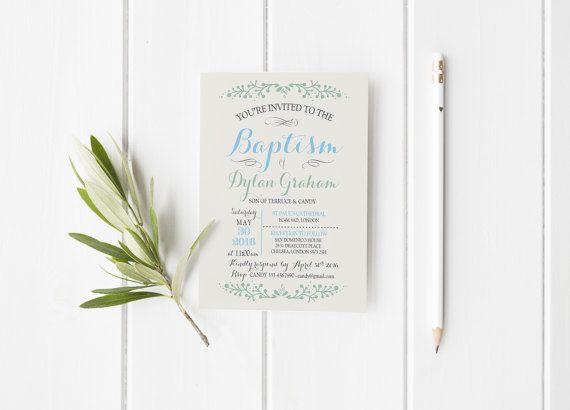 Imprimibles baby bautizo invitación flores por MomentiDesignStudio