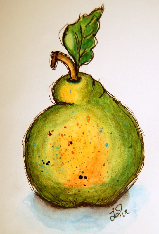 Funny pear. Watercolors and ink.