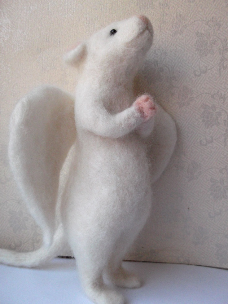 RESERVED FOR MEL Needle Felted White Mouse Angel Praying Mouse With Wings Handmade.