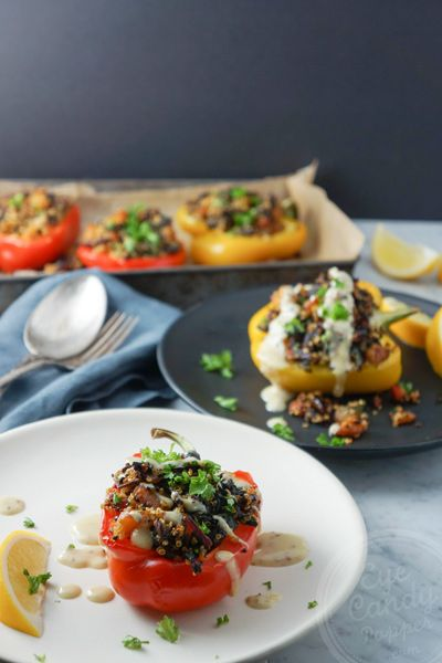 Quinoa, roasted vegetables and apricot stuffed peppers, with tahini-mustard sauce (vegan, GF)