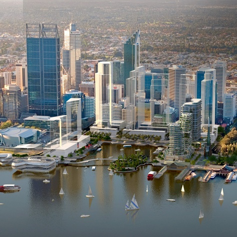 Elizabeth Quay, currently under construction (2013) - artists impression. Perth foreshore