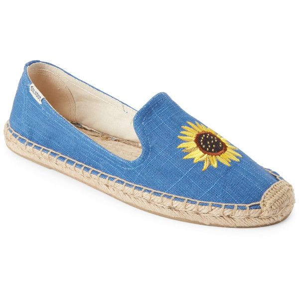 Soludos Ultramarine Embroidered Smoking Flat Espadrilles (10.205 HUF) ❤ liked on Polyvore featuring shoes, sandals, blue, espadrille sandals, embroidered sandals, flat espadrilles, blue shoes and slip on espadrilles