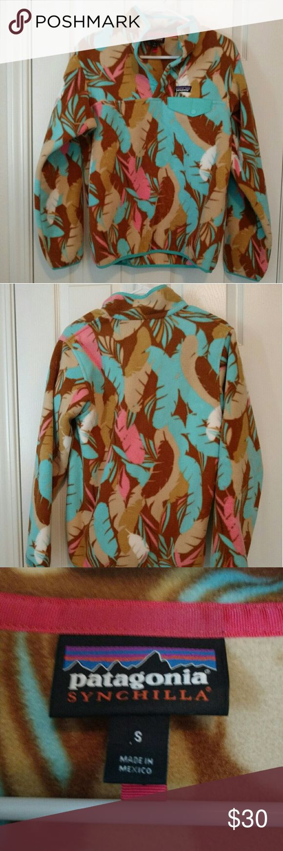 Patagonia Synchilla fleece pullover size small Patagonia women's lightweight synchilla snap-t fleece pullover, size small. Feather print. Only worn once. Patagonia Jackets & Coats