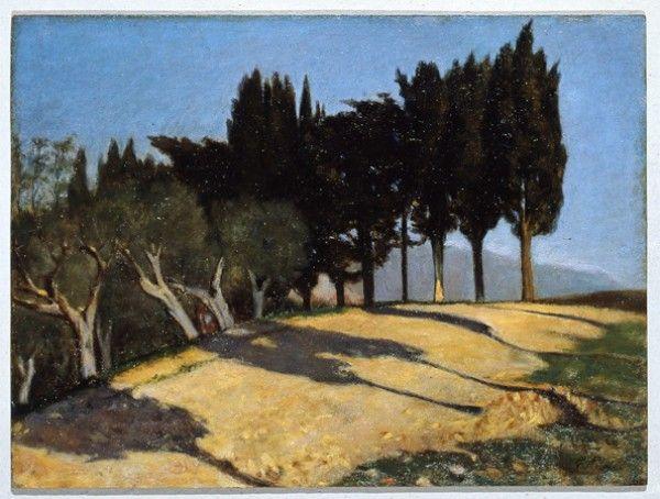 Giuseppe Abbati 1836-1868  Via di campagna con cipressi