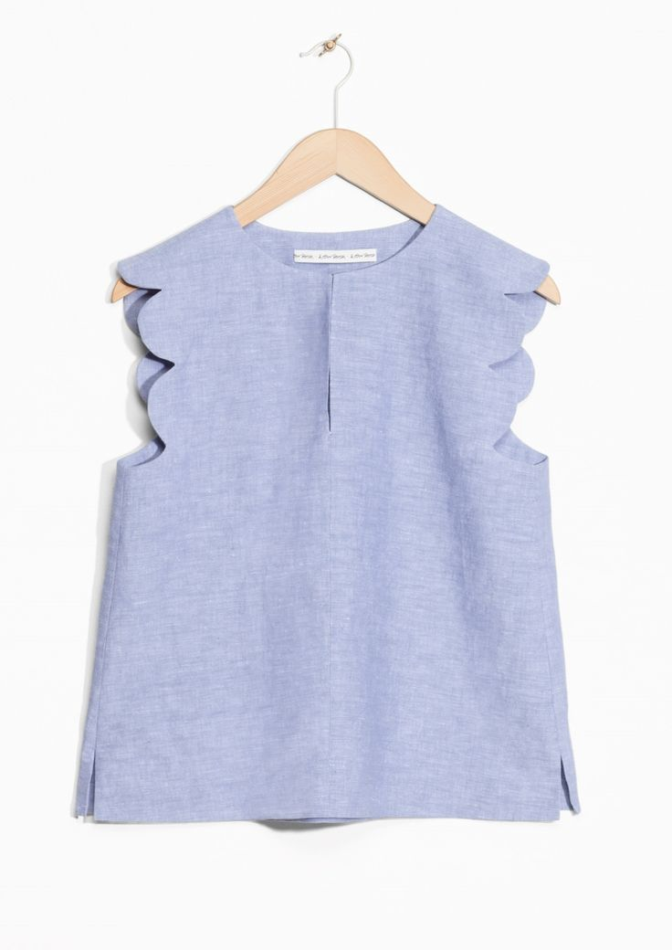 Scalloped Linen-Chambray Blouse
